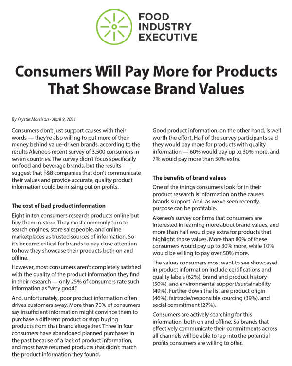 Consumers Will Pay More For Brand Values