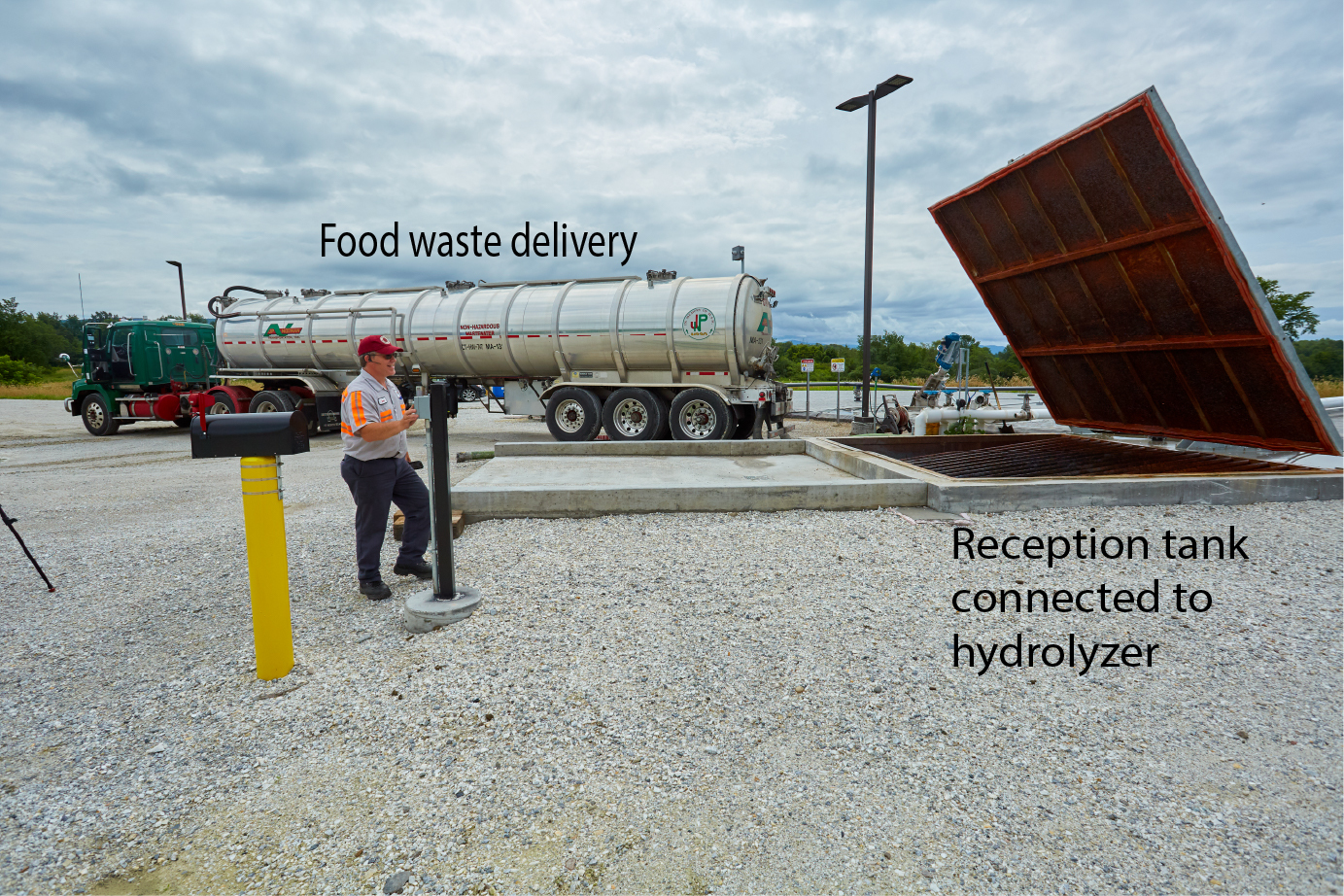 Goodrich Farm Food Waste Delivery Reception Tank labeled