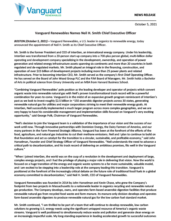 Vanguard Renewables Names Neil H. Smith Chief Executive Officer